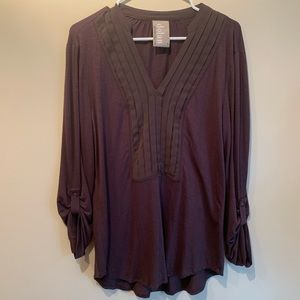 Anthropologie Dolan Brown Tunic with Tab Sleeves